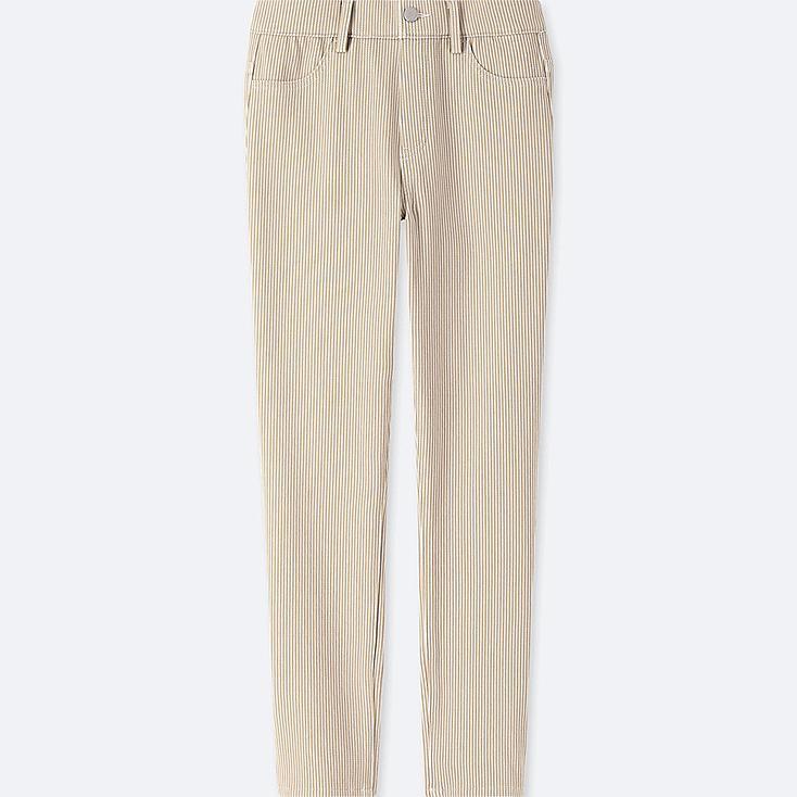 WOMEN PRINT CROPPED LEGGINGS PANTS, BEIGE, large