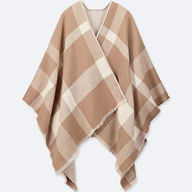 BIG CHECK 2-WAY STOLE, BEIGE, medium