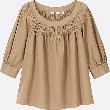 WOMEN SOFT COTTON GATHERED 3/4 SLEEVE BLOUSE, BEIGE, medium