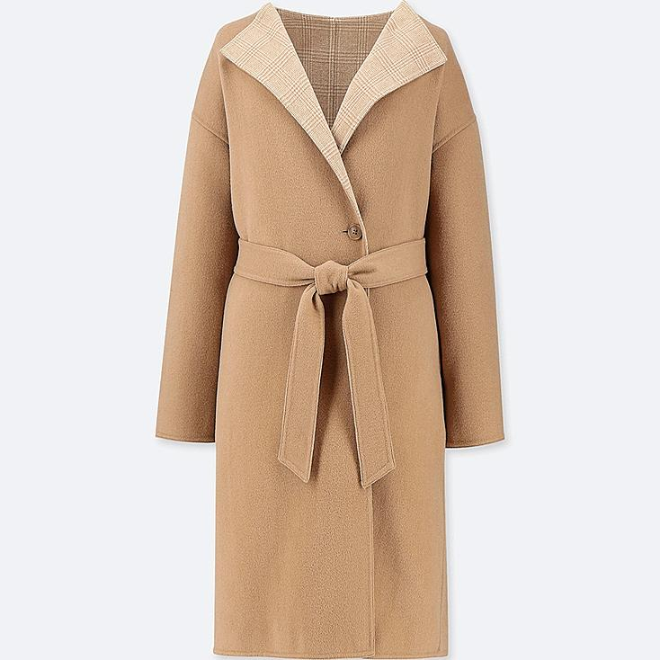 WOMEN DOUBLE FACE COLLARLESS COAT, BEIGE, large