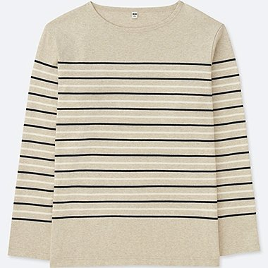 MEN WASHED STRIPED LONG-SLEEVE T-SHIRT, BEIGE, medium