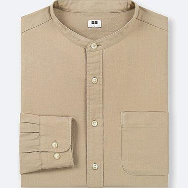 MEN SOFT TWILL STAND COLLAR LONG-SLEEVE SHIRT (ONLINE EXCLUSIVE), BEIGE, medium