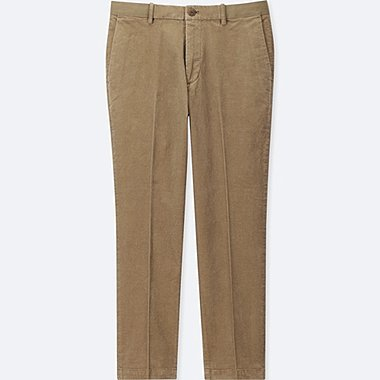 MEN EZY ANKLE-LENGTH PANTS (CORDUROY), BEIGE, medium