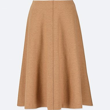WOMEN WOOL BLEND HIGH WAISTED FLARED SKIRT