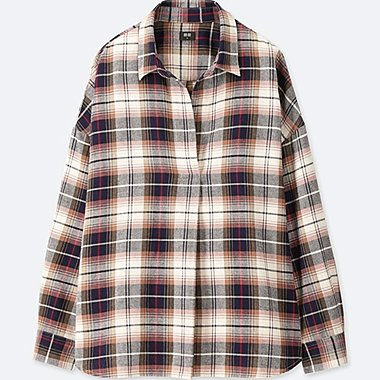 WOMEN FLANNEL CHECKED SKIPPER LONG-SLEEVE SHIRT, BEIGE, medium