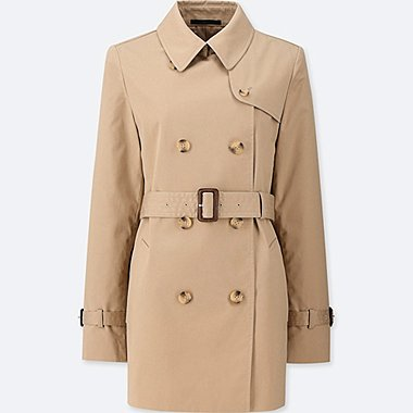 WOMEN SHORT TRENCH COAT (ONLINE EXCLUSIVE), BEIGE, medium