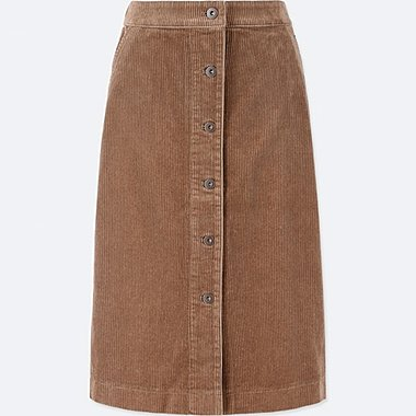 WOMEN CORDUROY FRONT BUTTON SKIRT(HIGH WAIST)