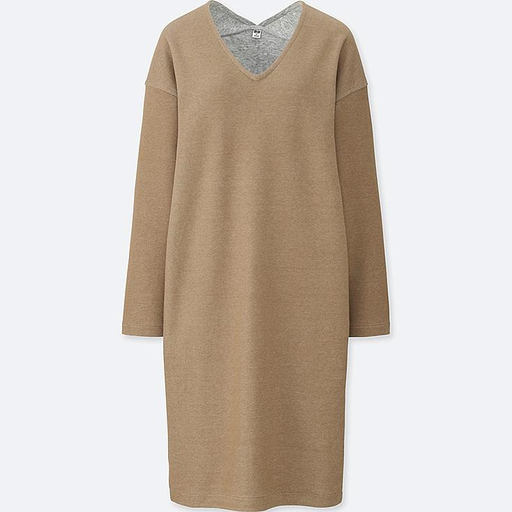 WOMEN DOUBLE FACE V-NECK LONG-SLEEVE DRESS, BEIGE, large