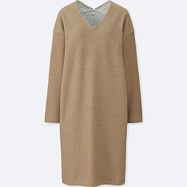 WOMEN DOUBLE FACE V-NECK LONG-SLEEVE DRESS, BEIGE, medium