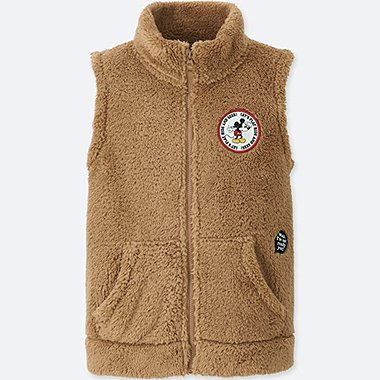 KIDS DISNEY FLUFFY YARN FLEECE VEST, BEIGE, medium
