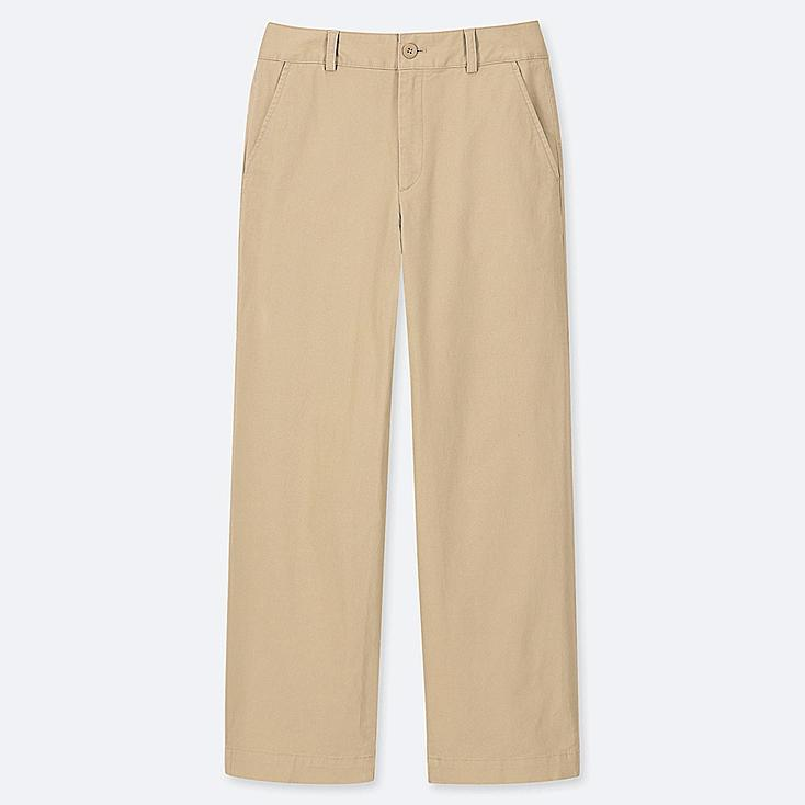 WOMEN HIGH-WAISTED WIDE STRAIGHT PANTS (CHINO), BEIGE, large