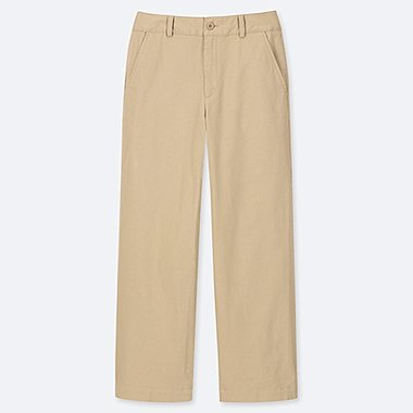 WOMEN HIGH-WAISTED WIDE STRAIGHT PANTS (CHINO), BEIGE, medium