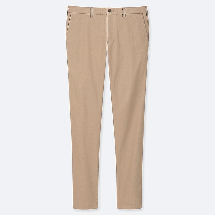 MEN SLIM-FIT CHINO FLAT-FRONT PANTS, BEIGE, large