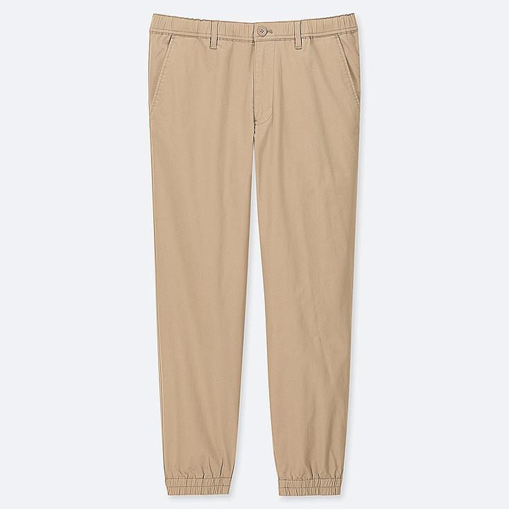 MEN PULL-ON COTTON JOGGER PANTS, BEIGE, large