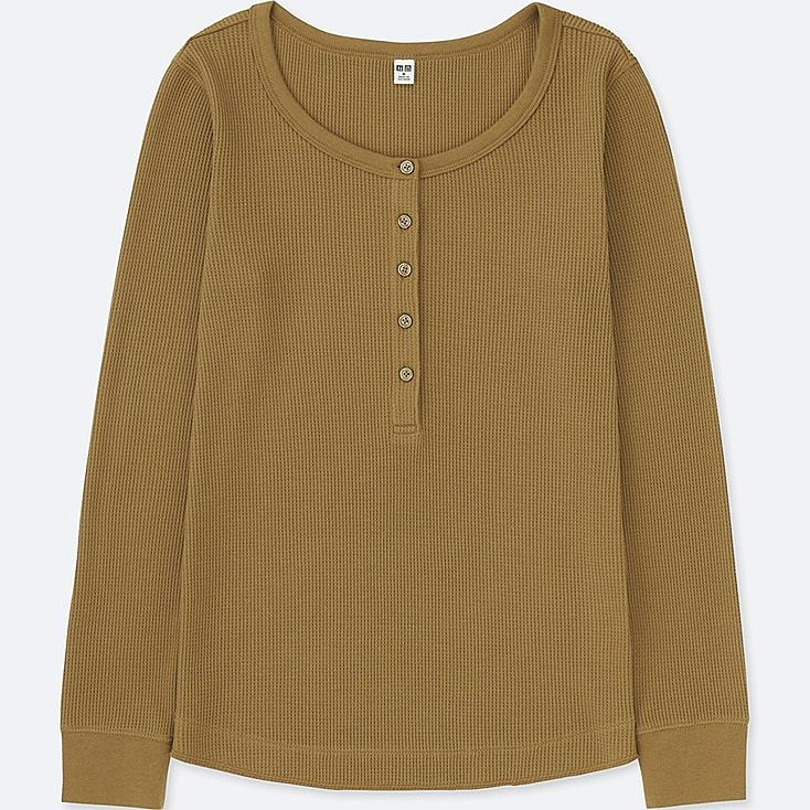 WOMEN WAFFLE HENLEY NECK LONG-SLEEVE T-SHIRT, BEIGE, large