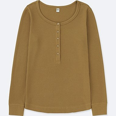 WOMEN WAFFLE HENLEY NECK LONG-SLEEVE T-SHIRT, BEIGE, medium