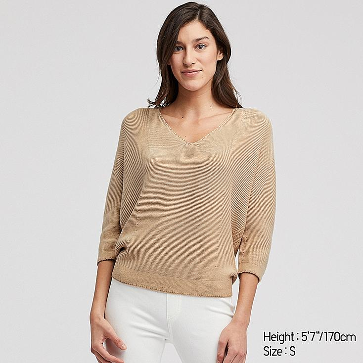 WOMEN 3D COTTON COCOON V-NECK 3/4 SLEEVE SWEATER, BEIGE, large
