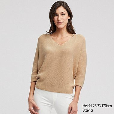 7689ed5d4568 WOMEN 3D COTTON COCOON V NECK 3 4 SLEEVED JUMPER