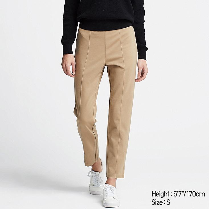 WOMEN PONTE SLIM PANTS, BEIGE, large