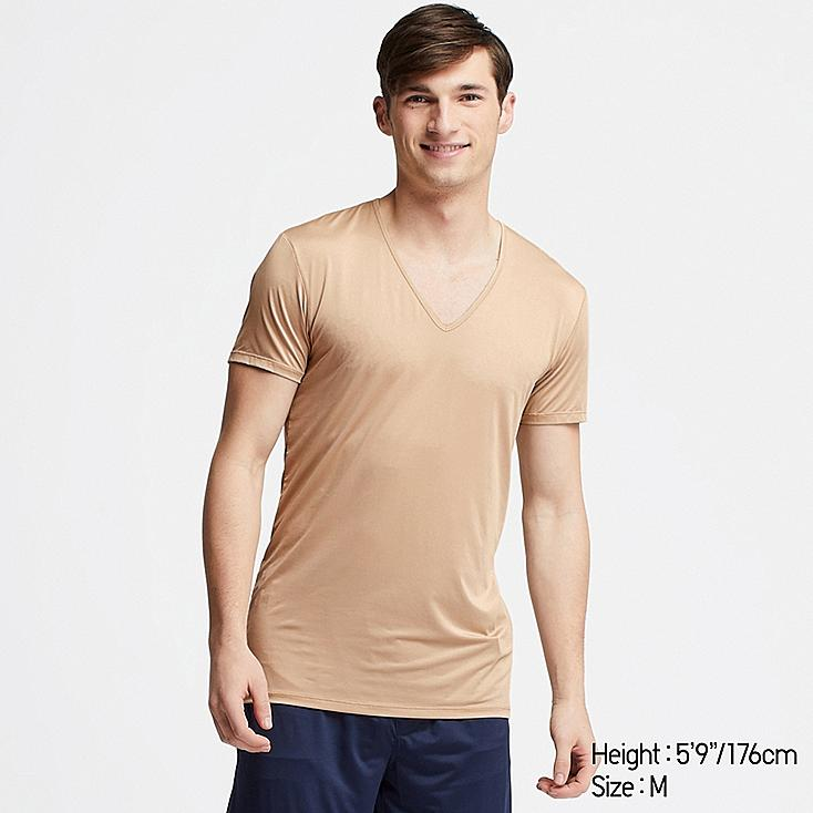 MEN AIRism V-NECK SHORT-SLEEVE T-SHIRT, BEIGE, large