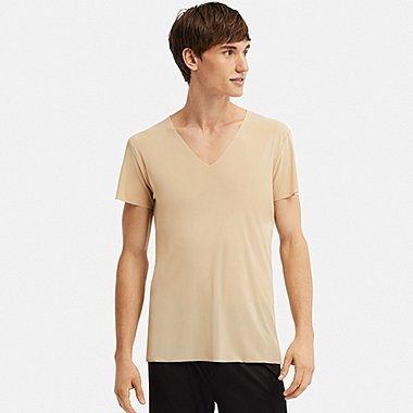 MEN AIRism SEAMLESS SHORT-SLEEVE V-NECK T-SHIRT, BEIGE, medium