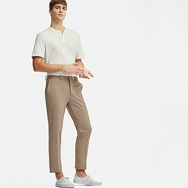 MEN EZY ANKLE-LENGTH PANTS (DRY-EX), BEIGE, medium