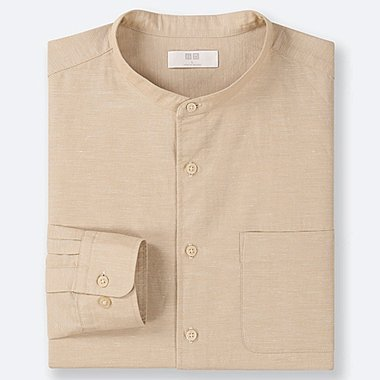 MEN LINEN COTTON STAND COLLAR LONG-SLEEVE SHIRT (ONLINE EXCLUSIVE), BEIGE, medium