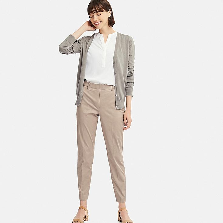 WOMEN EZY SATIN ANKLE-LENGTH PANTS (CHECK), BEIGE, large