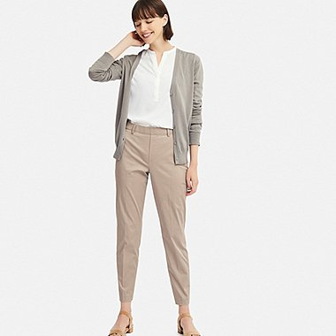 WOMEN EZY SATIN ANKLE-LENGTH PANTS (CHECK), BEIGE, medium