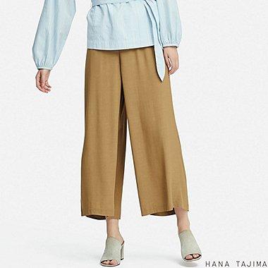 WOMEN RAYON RELAXED WIDE ANKLE PANTS (HANA TAJIMA), BEIGE, medium