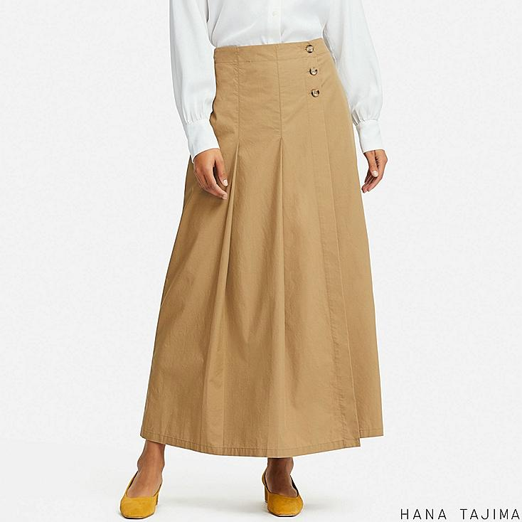 WOMEN TUCK FLARE LONG SKIRT (HANA TAJIMA), BEIGE, large