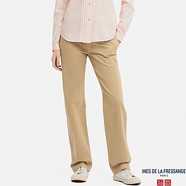 WOMEN COTTON CHINO PANTS (INES DE LA FRESSANGE), BEIGE, medium