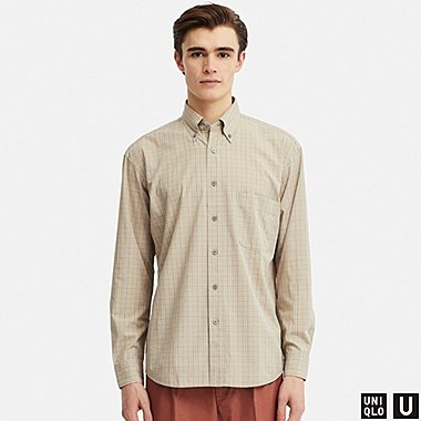 HERREN UNIQLO U LOCKERES HEMD MIT KAROMUSTER (BUTTON-DOWN-KRAGEN)