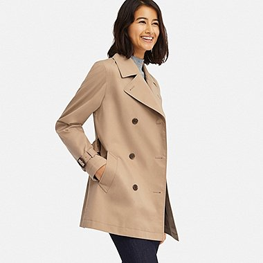 WOMEN SHORT TRENCH COAT, BEIGE, medium