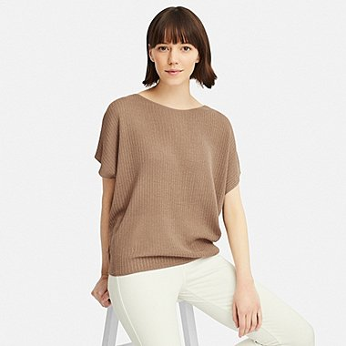 WOMEN LACY BOAT NECK SHORT-SLEEVE SWEATER, BEIGE, medium