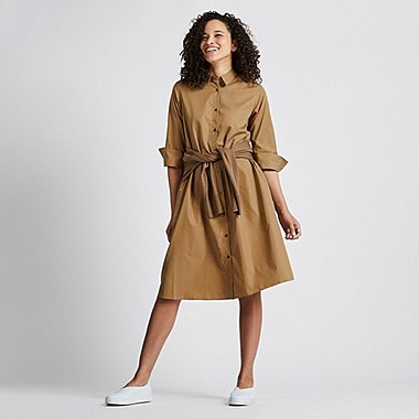WOMEN EXTRA FINE COTTON A-LINE 3/4 SLEEVE DRESS, BEIGE, medium