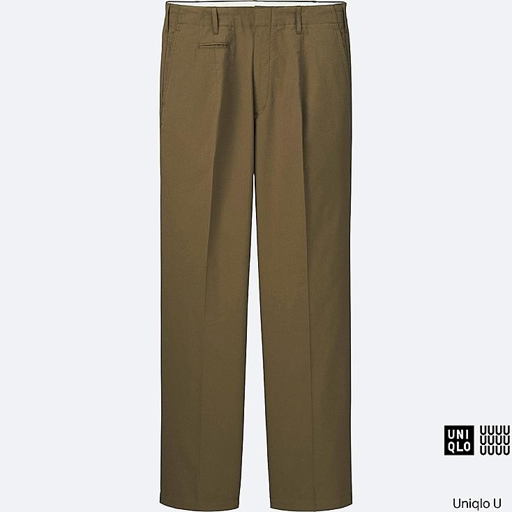 MEN U SEERSUCKER WIDE PANTS, KHAKI, large