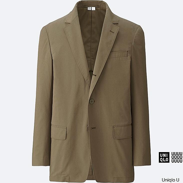 MEN U SEERSUCKER JACKET, KHAKI, large