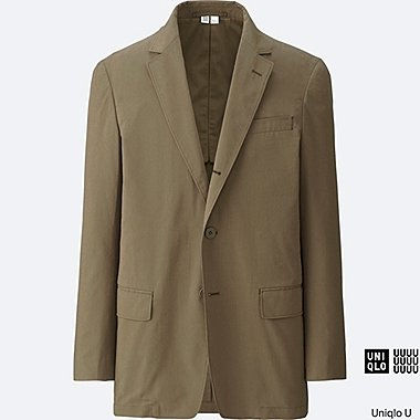 MEN U SEERSUCKER JACKET, KHAKI, medium