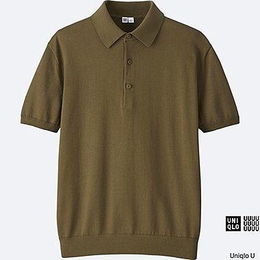 MEN U SUPIMA COTTON KNITTED POLO SHIRT, KHAKI, medium