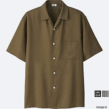MEN U OPEN COLLAR SHORT-SLEEVE SHIRT, KHAKI, medium