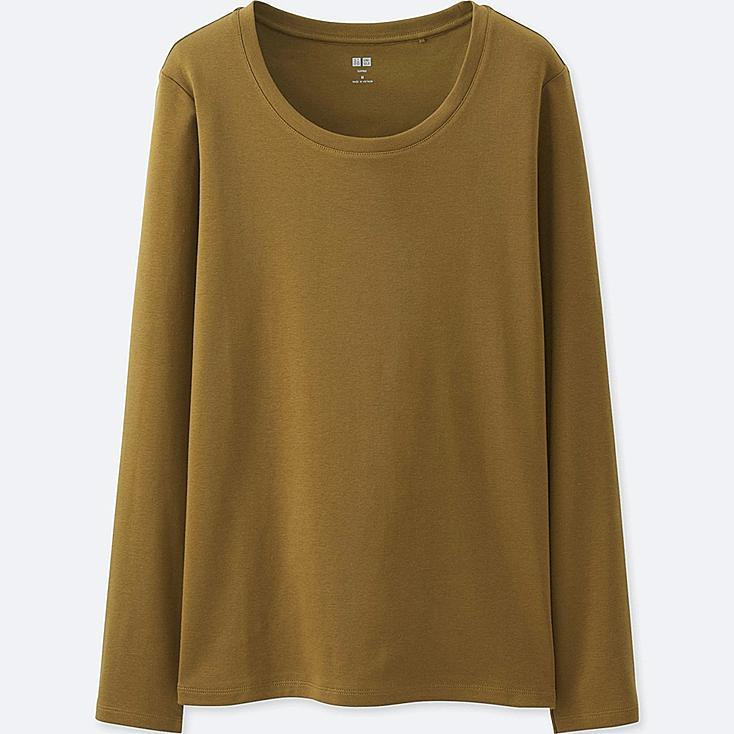Women Supima® Cotton Crew Neck Long Sleeve T-Shirt, KHAKI, large