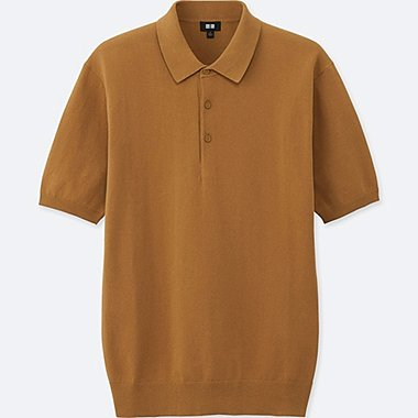 MEN WASHABLE KNITTED SHORT-SLEEVE POLO SHIRT, KHAKI, medium