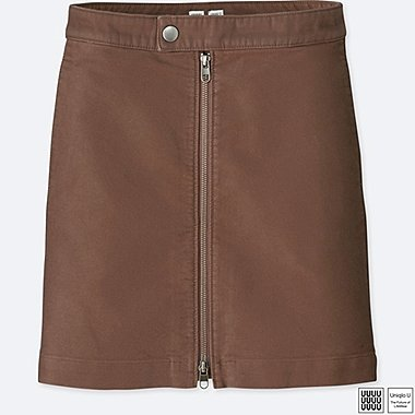 WOMEN U COTTON ZIPPED MINI SKIRT, KHAKI, medium