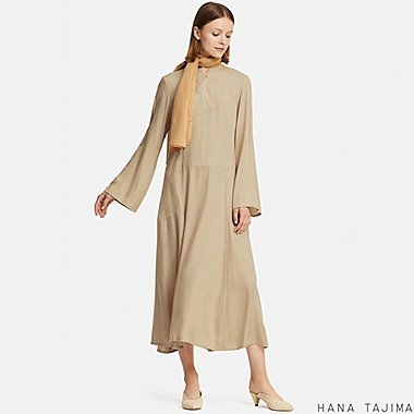 WOMEN HANA TAJIMA RAYON FLARED MAXI DRESS