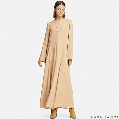 WOMEN HPJ RAYON FLARE LONG-SLEEVE LONG DRESS, KHAKI, medium