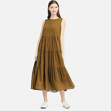 WOMEN COTTON LONG SLEEVELESS DRESS, KHAKI, medium