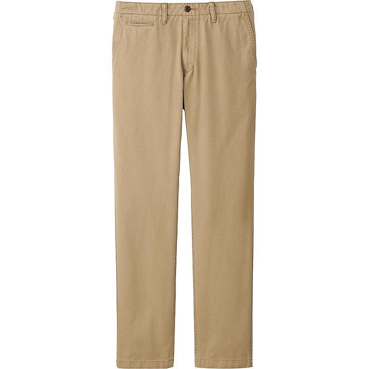 Men's Vintage Regular Fit Chino Flat Front Pants, BROWN, large