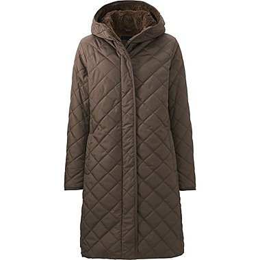 WOMEN WARM PADDED COAT, BROWN, medium