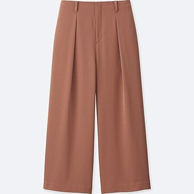 WOMEN EASY CARE Drape Wide Leg Ankle Length Trousers